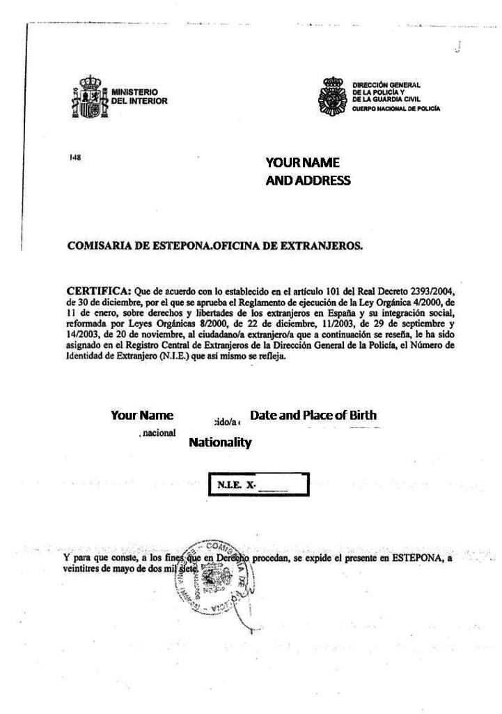 Så här kan ett intyg om NIE-nummer se ut i Spanien